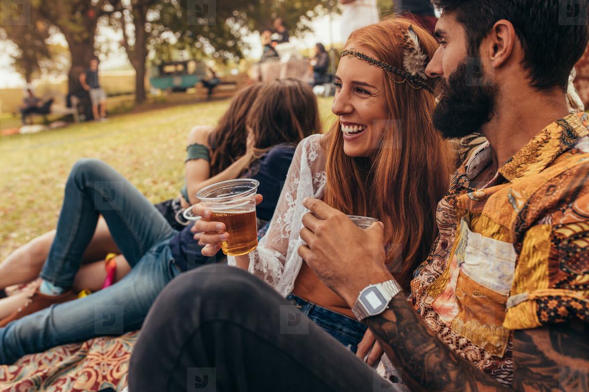 Couple enjoying at the summer festival