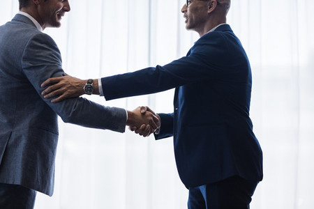 Sophisticated business men shaking hands with each other