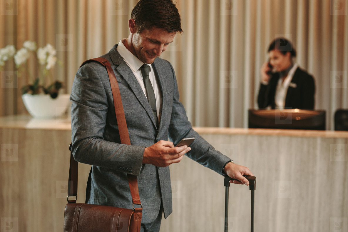 Male guest arriving at his hotel