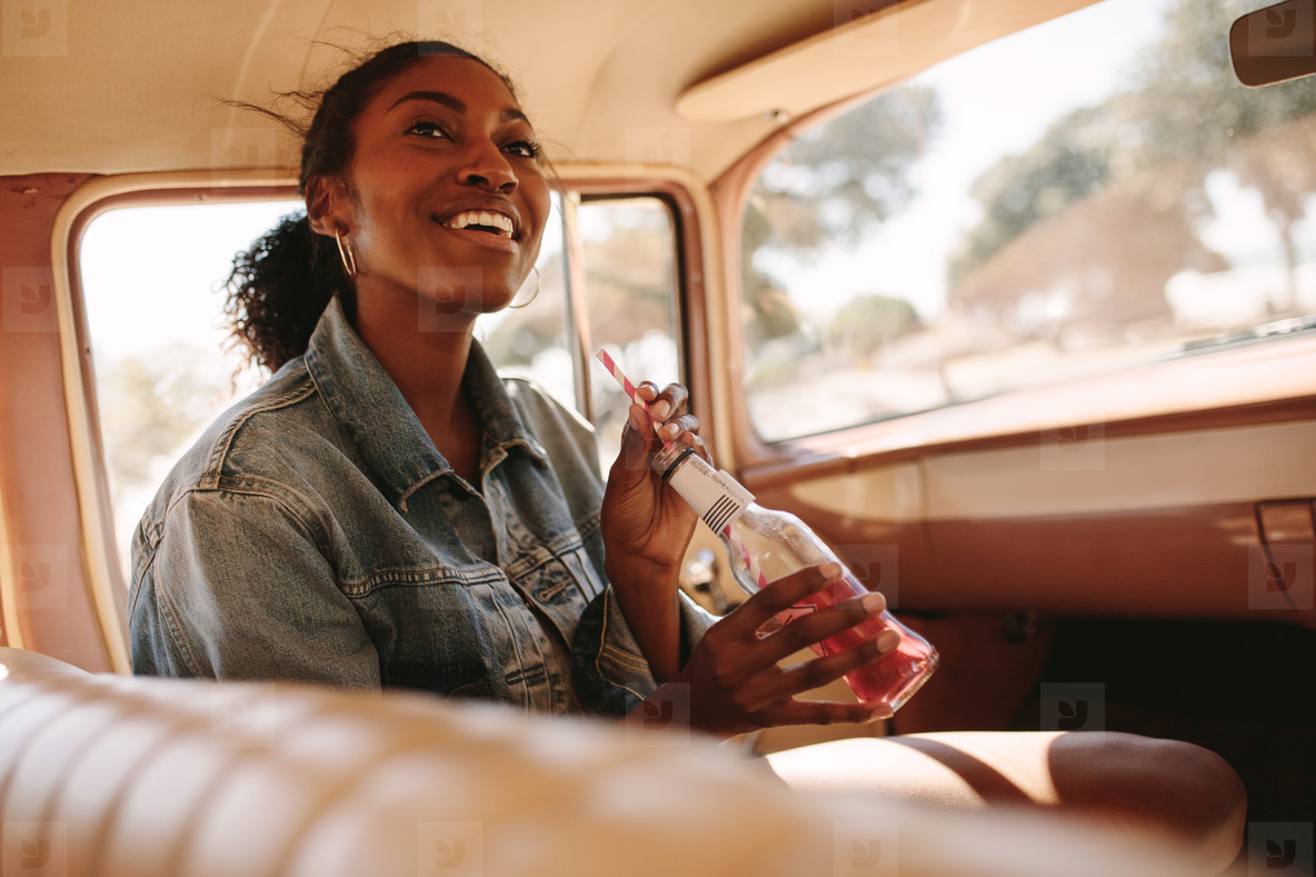 African woman going on a road trip