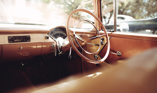 Dashboard of a classic vintage car