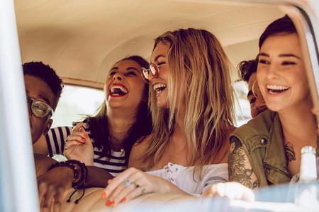 Friends enjoying the car ride