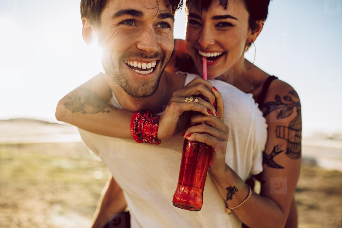 Couple enjoying on summer vacation