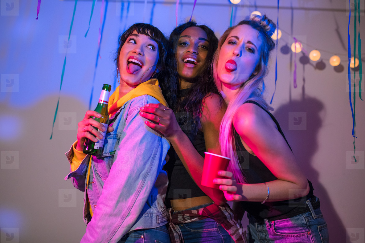 Women having fun at a house party