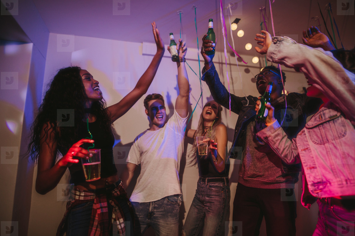 Friends enjoying at a house party
