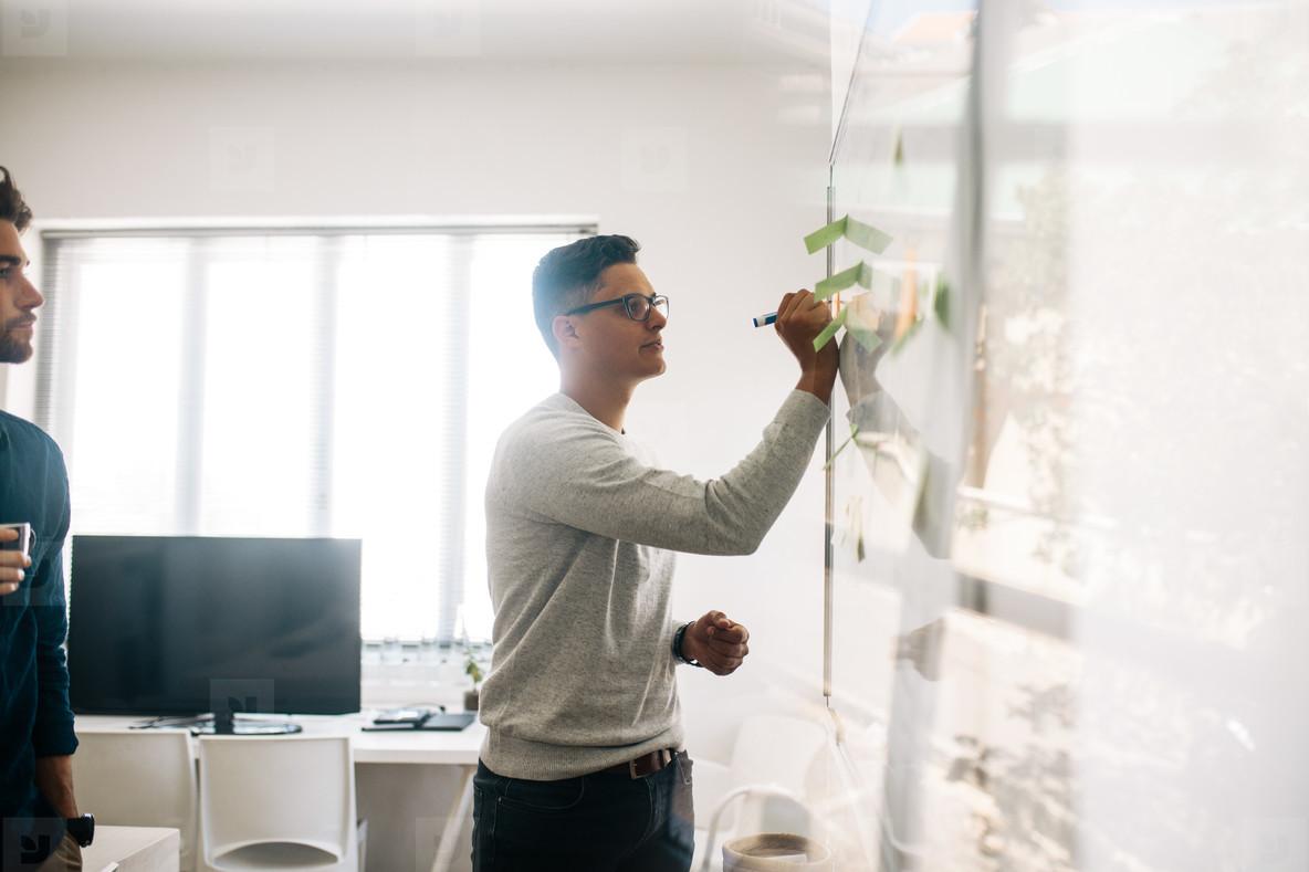 Application developer writing on board in office
