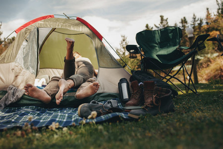 Romantic camping in the nature