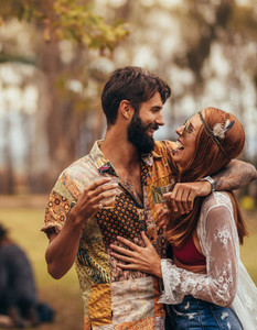 Couple dancing at music festival