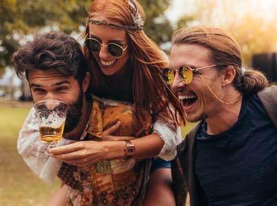 Cheerful people having fun at music festival