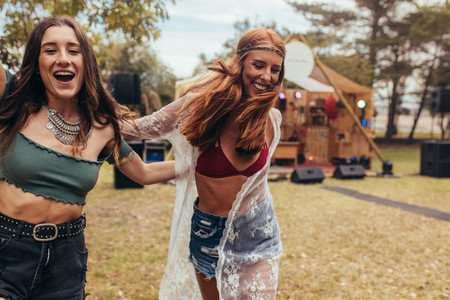 Hipsters enjoying at music festival