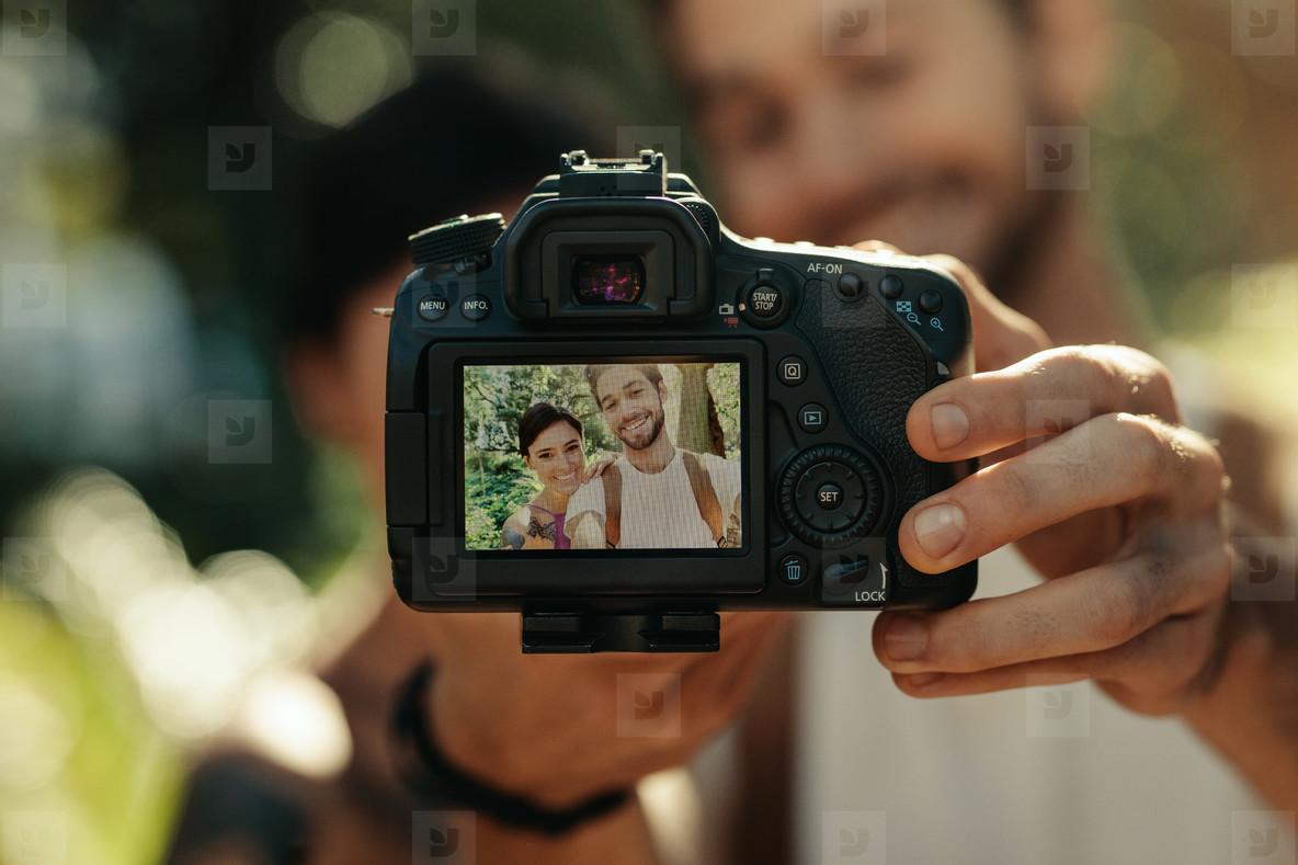 Tourist couple enjoying their holiday