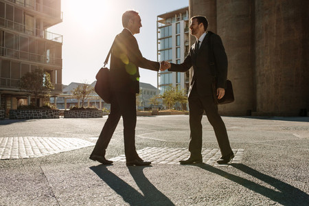 Business colleagues meeting each other on a street while commuti