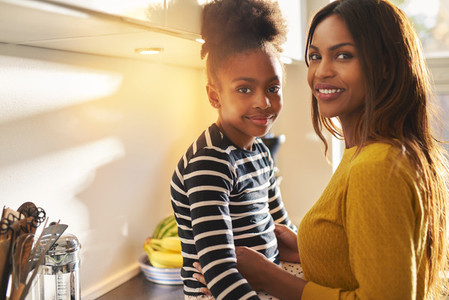 Beautiful black mom and daughter