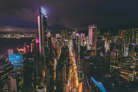 Aerial view of Hong Kong skyline at night