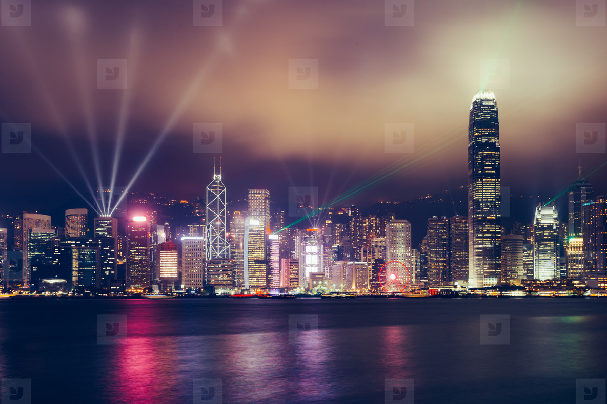Hong Kong skyline at night on Victoria Harbour for Symphony of L