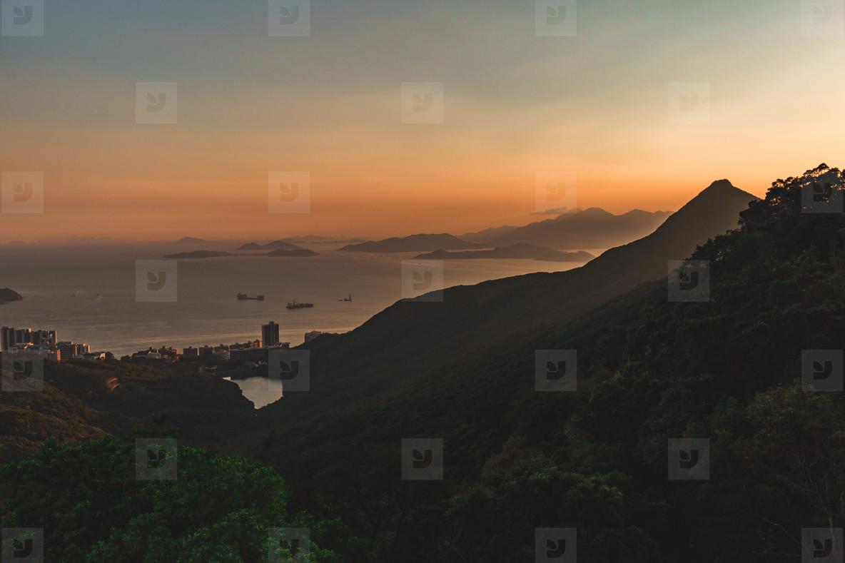 Mountains and islands around Hong Kong at sunset