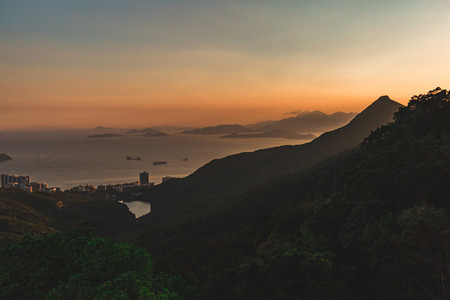 Mountains and islands around Hong Kong at sunset
