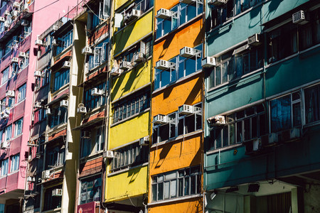 Colorful residential apartment buildings in Hong Kong