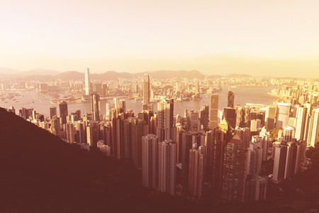 Hong Kong skyline at golden sunset view from Victoria Peak