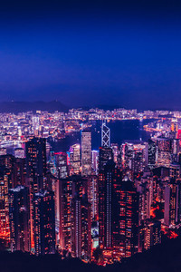 Hong Kong skyline at night from Victoria Peak with copy space in
