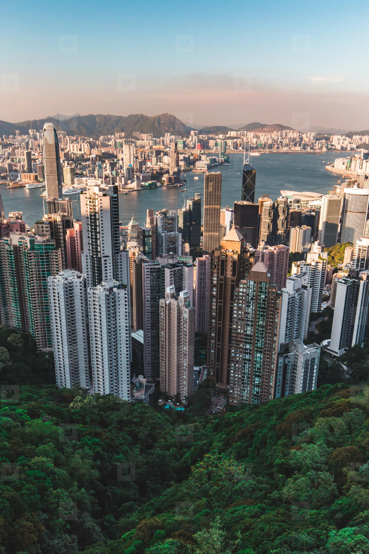 Hong Kong skyline view from Victoria Peak daytime with blue sky