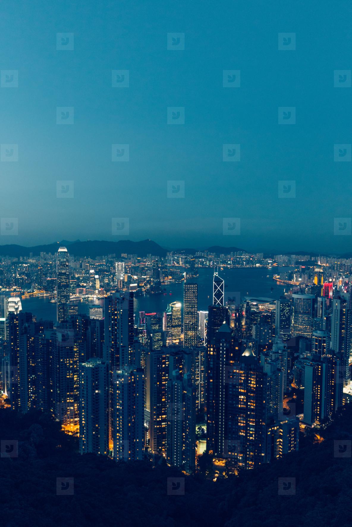 Hong Kong skyline at evening dusk sunset