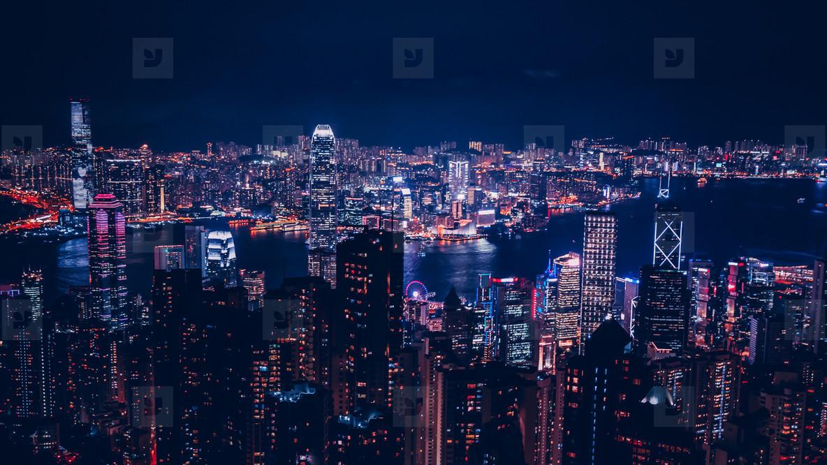 Panoramic view of Hong Kong skyline at night
