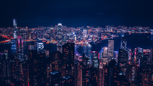 Panoramic view of Hong Kong skyline at night