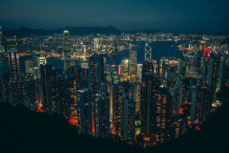 Hong Kong skyline at night from Victoria Peak