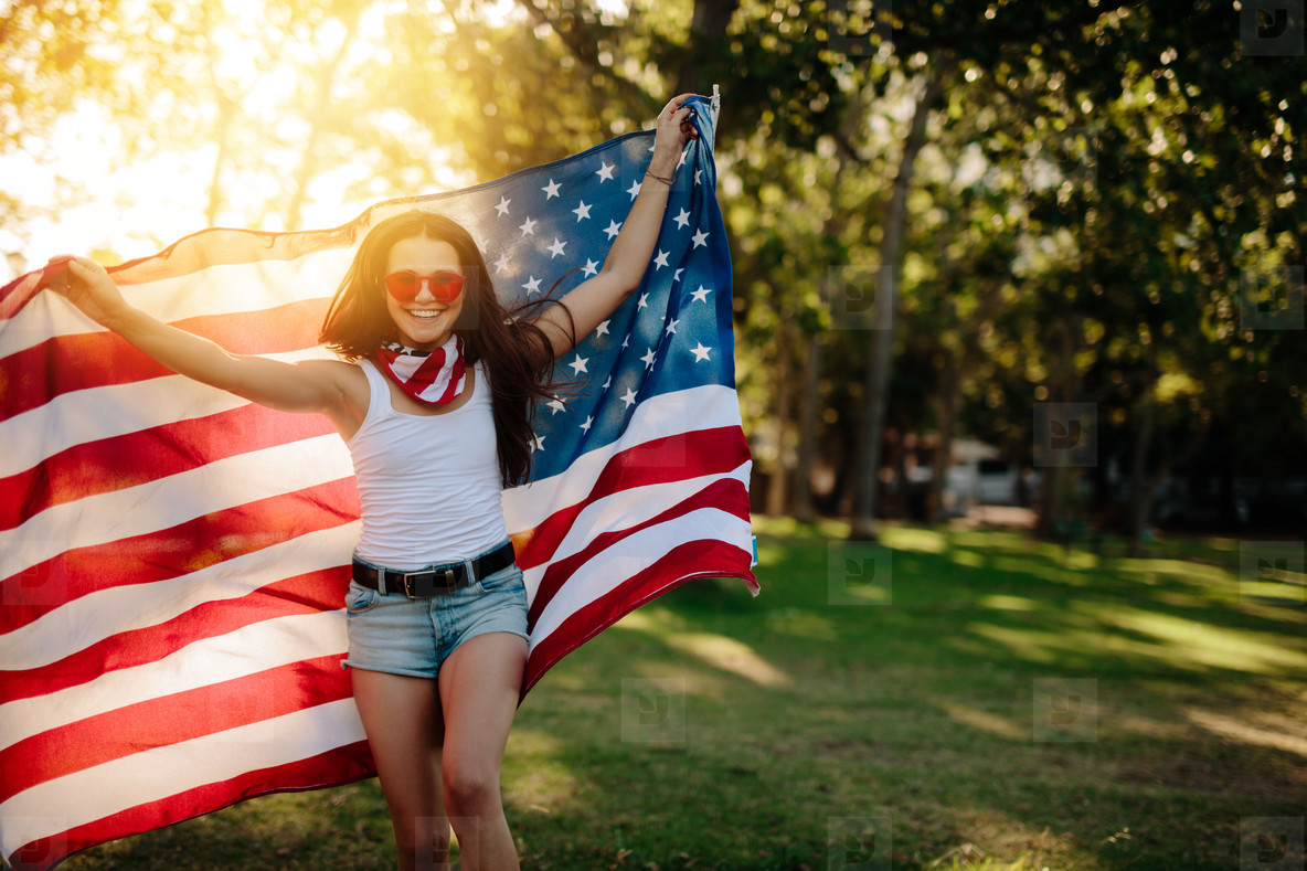 American girl enjoying independence day