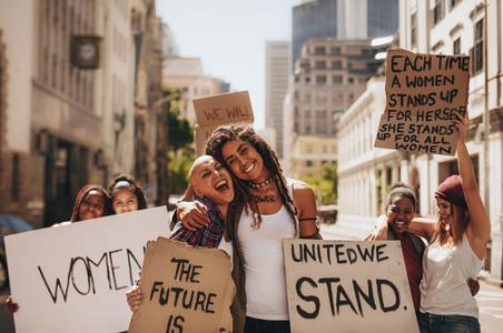 Girls having fun at womens march