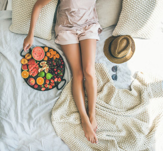 Summer healthy clean eating breakfast in bed concept  square crop