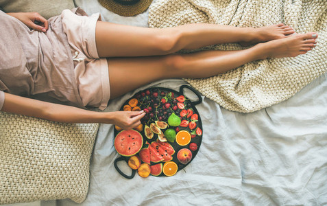 Summer healthy clean eating breakfast in bed concept copy space