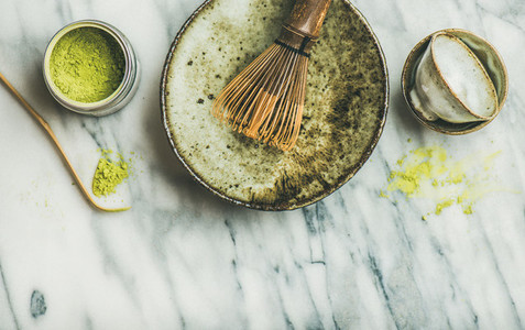 Japanese tools and bowls for brewing matcha green tea