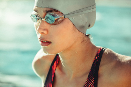 Focused professional swimmer