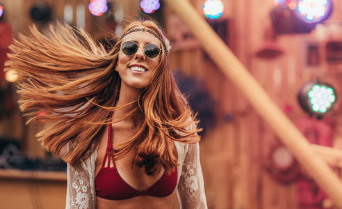 Attractive hippie girl at music festival