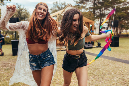 Girls having fun at music festival