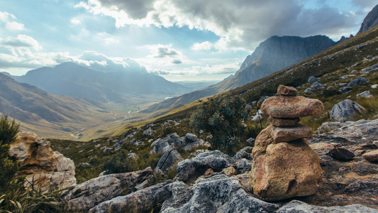 Stack of rocks on rocky mountain