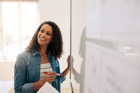 Businesswoman standing beside a whiteboard in office