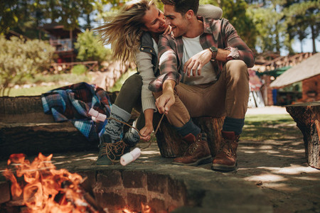 Romantic couple enjoying at campsite