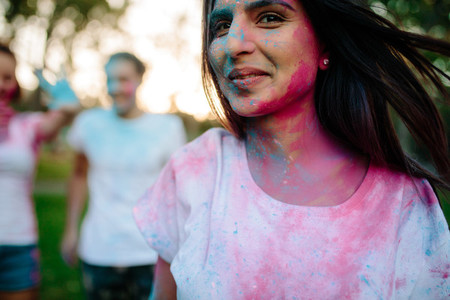 Woman celebrating holi