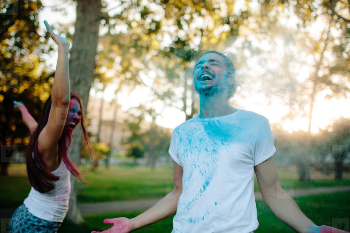 Couple celebrating festival of colors