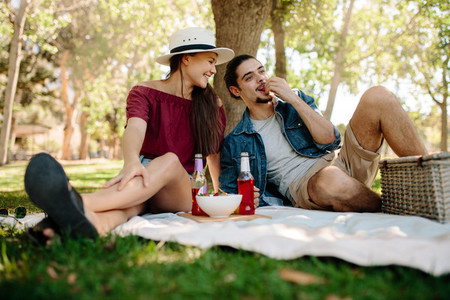 Couple on a picnic at park
