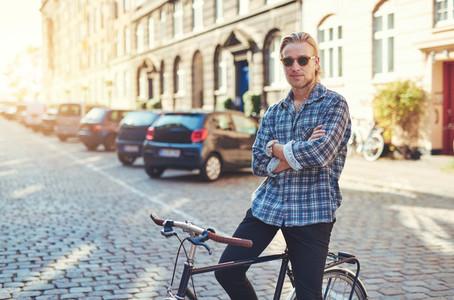 Portrait of man on his bike