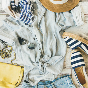 Summer womans outfit flatlay  top view  square crop