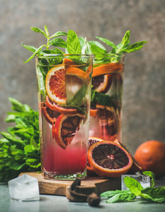 Blood orange citrus lemonade with mint and ice