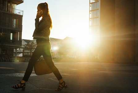 Woman going to office early in the morning