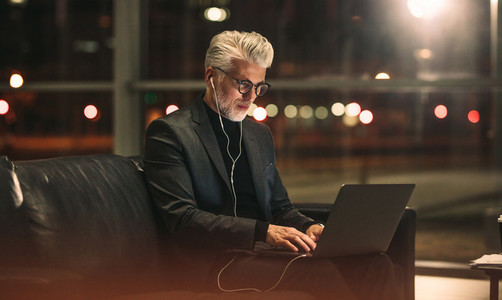 Mature businessman working on laptop in office