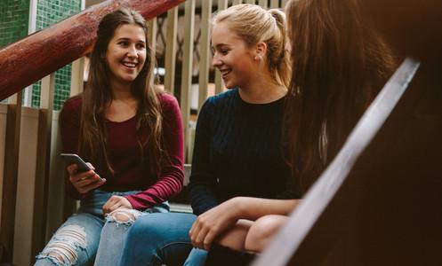 University girls on campus during break