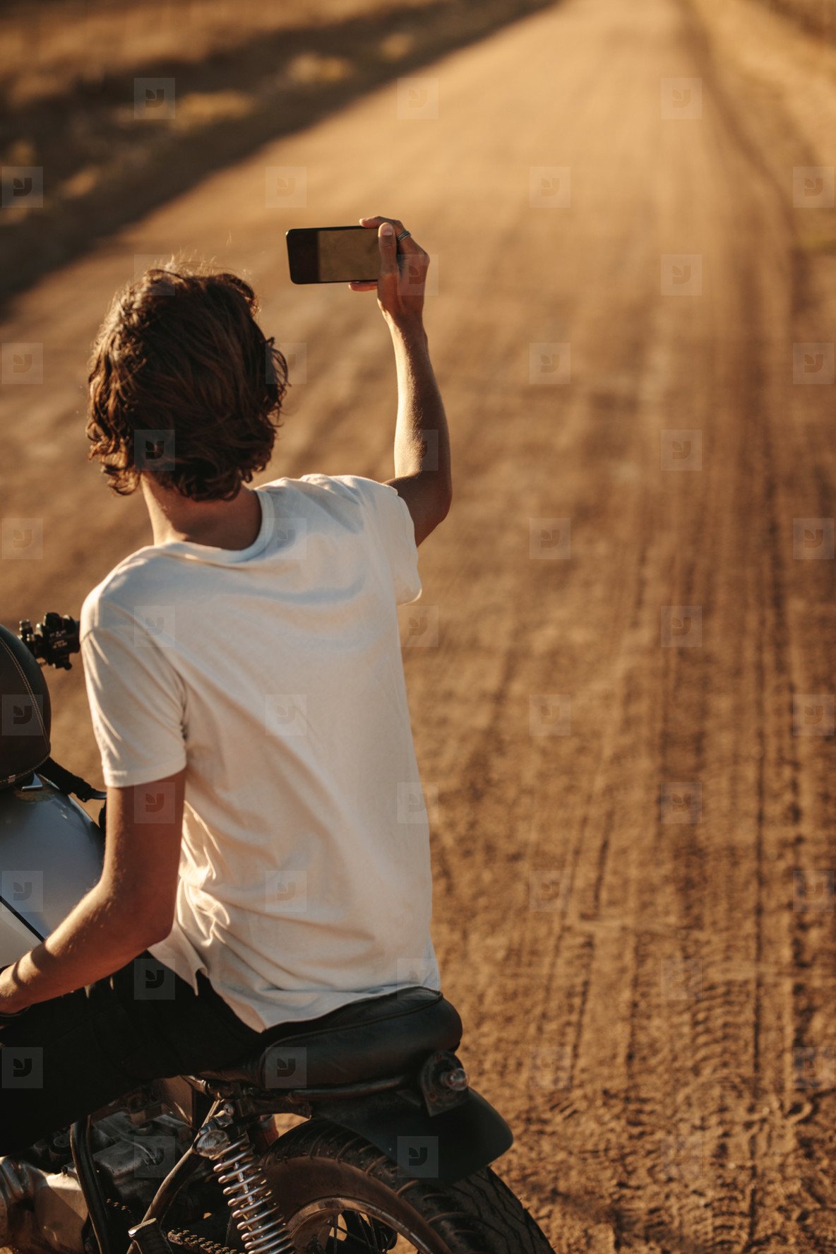 Rider capturing memories of his countryside ride